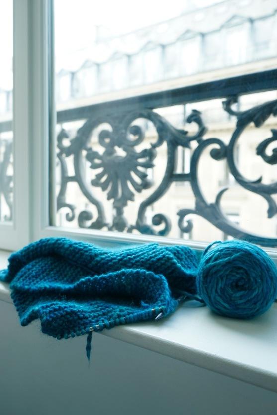 Admiring my knitting progress in Paris Hotel Room | HeyGirlfriend.Net