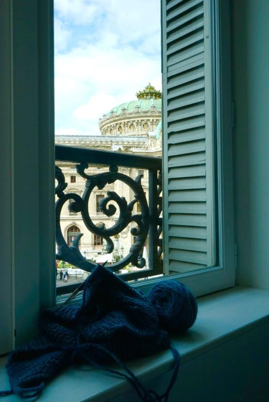 My knitting project with a view of Palais Garnier | HeyGirlfriend.Net