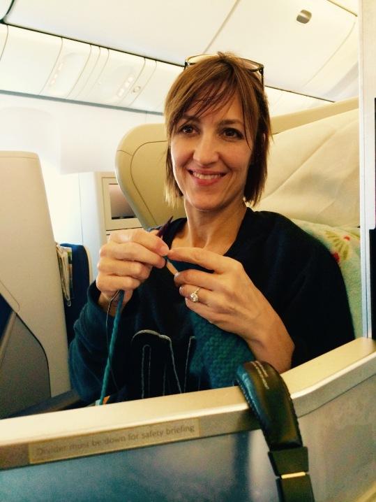 Knitting on Scarf on international flight, hence an International Scarf (-: | HeyGirlfriend.Net