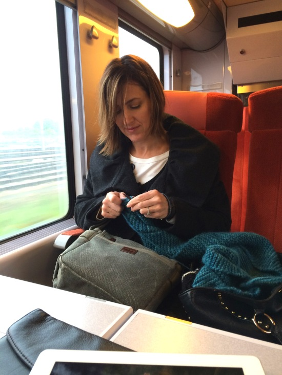Knitting on train ride to Giverny | HeyGirlfriend.Net
