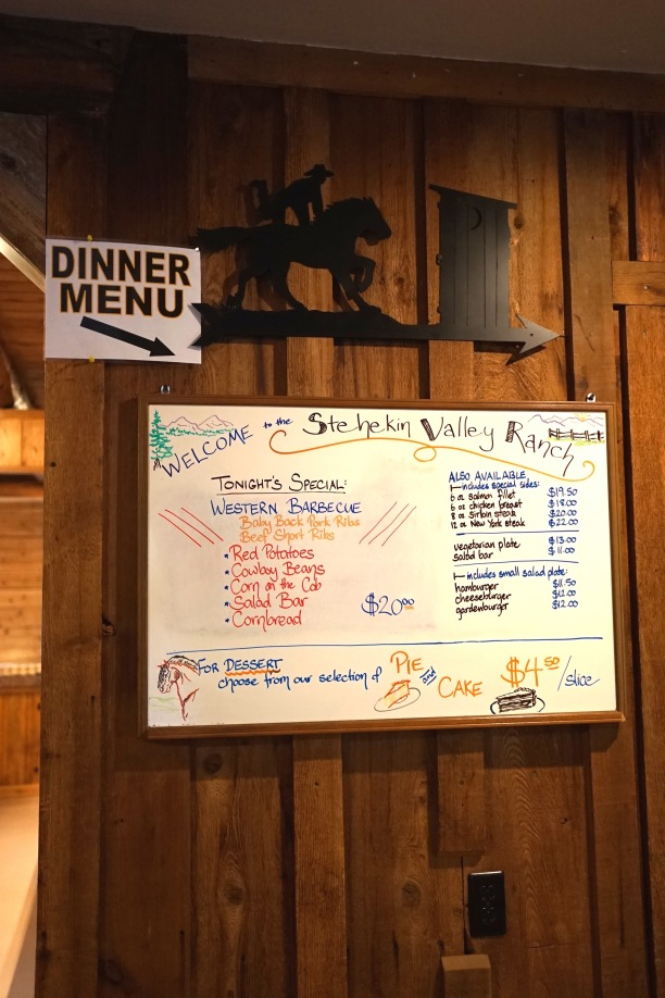 Menu at Stehikin Ranch