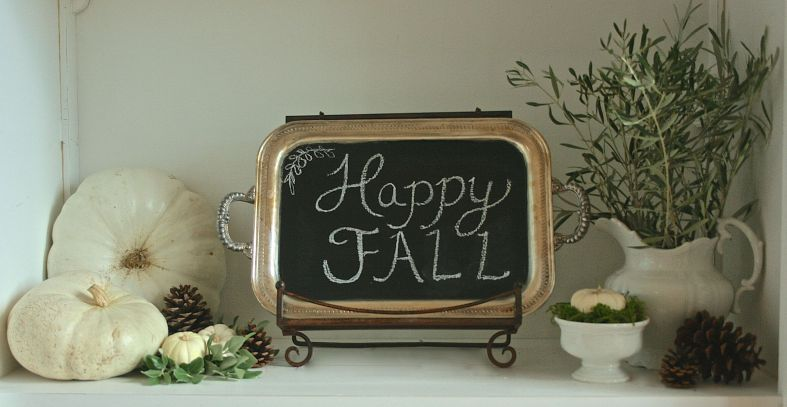 Chalkboard tray and pumpkins