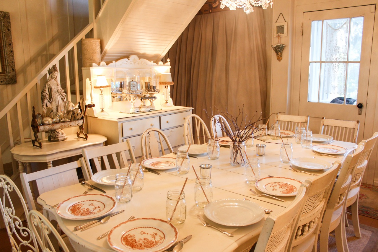 Jamison Cottage Dining table set for a Fall Dinner