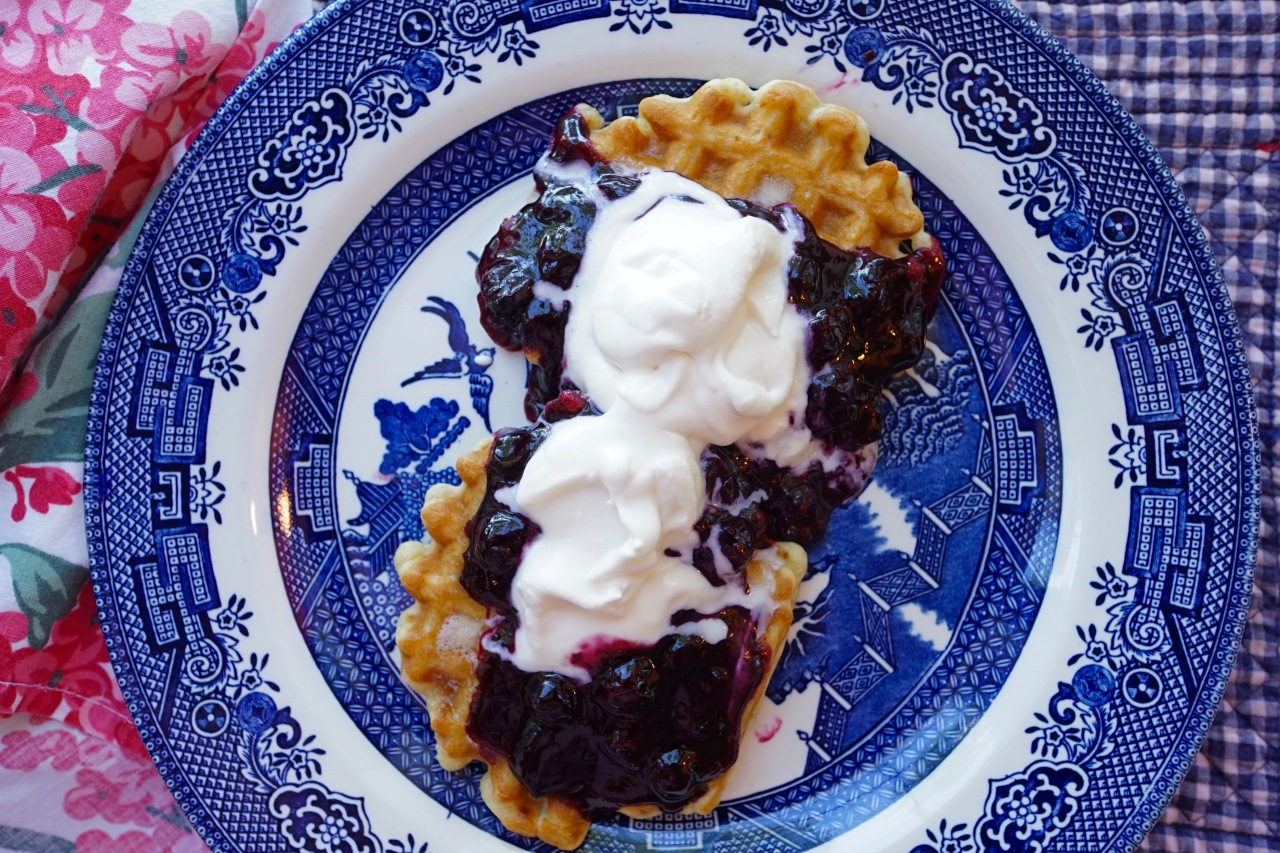 Blueberry-waffles-with-whipped-cream