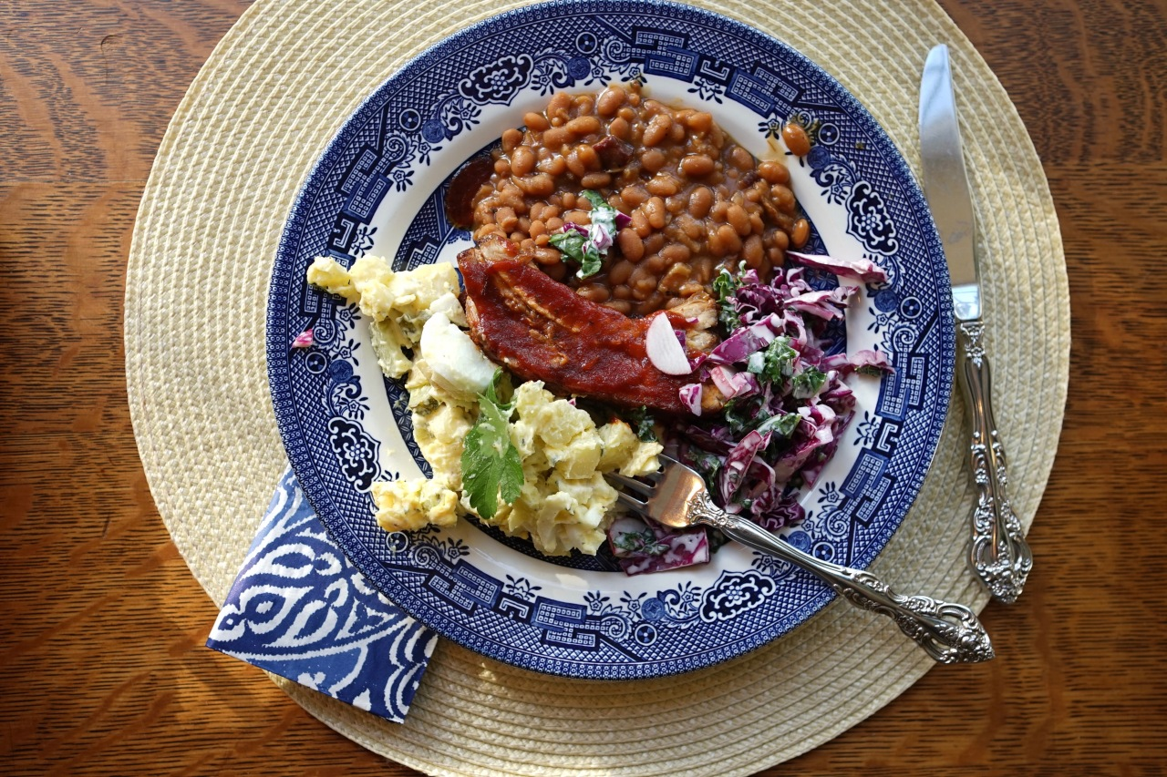 Pork-Ribs-Beans-Potato-salad-and-Cabbage